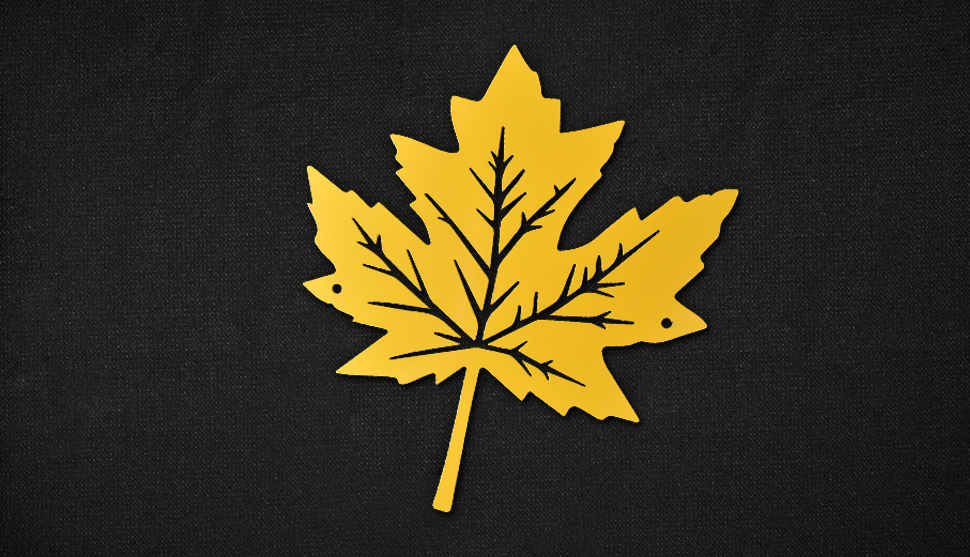Maple Leaf coated with RAL 1028 - Melon Yellow