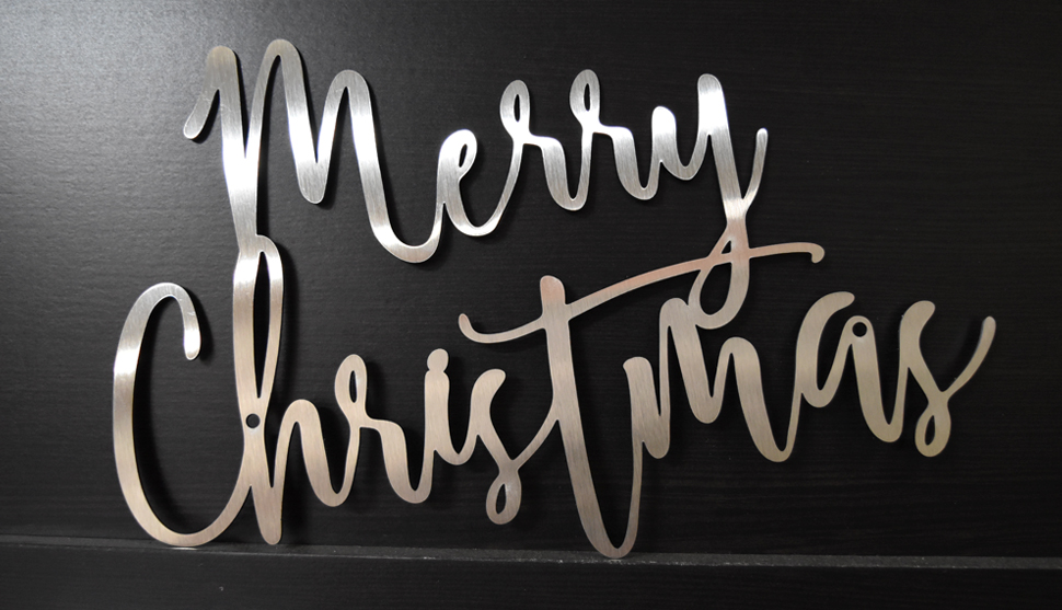 Merry Christmas Lettering - Brushed Stainless steel