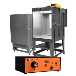 Kool Koat Turn-Key Powder System: 2x3x2 Oven, 3x4x2 Booth, Kool Koat 2.0 DPW powder, coating, spray, booth, oven, combo, 232, 342, rolling, small